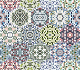 A rich set of hexagonal ceramic tiles. Colorful elements in oriental style. Vector illustration.