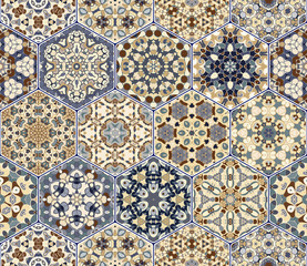 A rich set of hexagonal ceramic tiles in shades of blue and brown. Colorful elements in oriental style. Vector illustration.