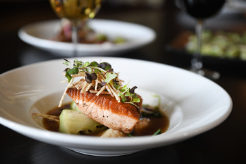 Salmon entree on plate