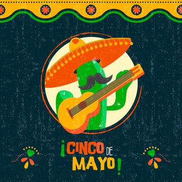 Cinco de mayo card of fun mexican mariachi cactus