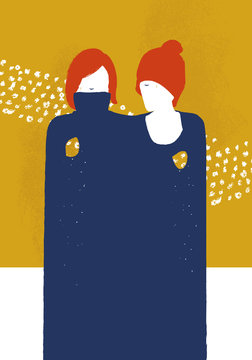 Illustration depicting two women