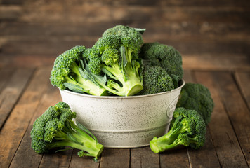 Fresh broccoli in the bowl