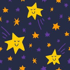 Vector seamless pattern with stars and comet on dark sky background. Graphic illustration in cute cartoon style for print, decor, fabric or textile and prints.