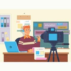 Education video blog filming backstage concept. Creating video tutorials.Flat vector illustration