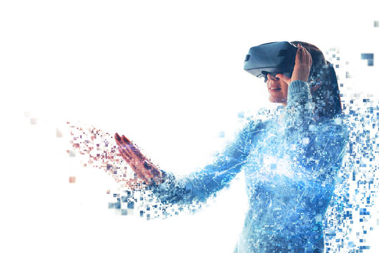 A person in virtual glasses flies to pixels. The woman with glasses of virtual reality. Future technology concept. Modern imaging technology. Fragmented by pixels.