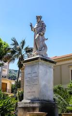 Piazza San Antonio. Monument and Statue of A S. Antonino Abbate. Sorrento.  Italy