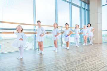 Young ballerinas rehearsing in the ballet class. They perform different choreographic exercises. They stand in different positions near the ballet barr.