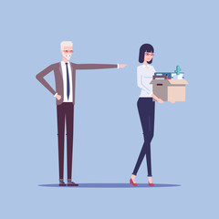 Angry boss firing employee. Dismissed frustrated business woman carrying box with her things vector flat illustration. Business concept unemployment, crisis, jobless and employee job reduction