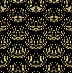 Seamless abstract floral pattern with points. Vector background.