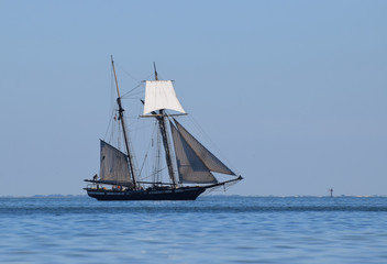 Historic tall ship sailing in bay.
