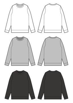 Sweat shirt TOP fashion flat technical drawing template