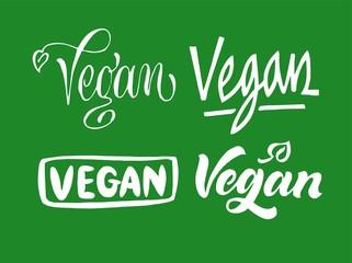 Set of Vegan lettering. Hand drawn calligraphy inscriptions. Brush pen modern text. Vegeterian Vegan organic life-style concept.