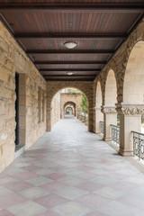 Exterior colonnade hallway. Stanford, Santa Clara County, California, USA.