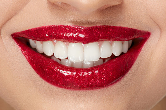 Smile With Red Lips And White Teeth