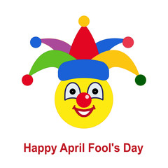 April fool's day. Icon. Smiley ball as a clown in a circus, in a colorful hat.