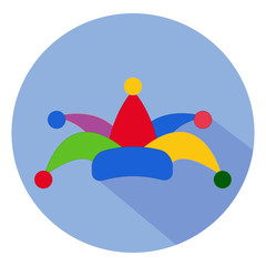 April fool's day. Icon. Colorful clown hat on a blue background.