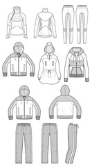Sportswear apparel Set ashion flat technical drawing template