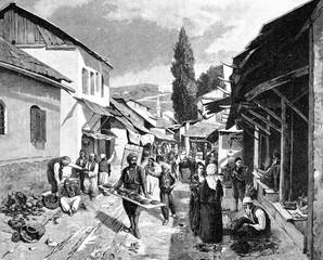 Menschen auf dem Markt in Sarajevo