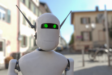 a portrait of a robot (3d rendering)