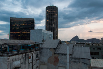 New and Old Buildings of Rio de Janeiro Downtown, Sugarloaf Mountain in the Horizon