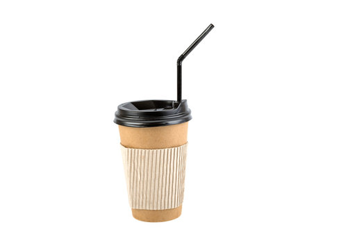 cup for coffee with straw on white background