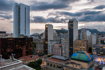 Cityscape of Rio de Janeiro Downtown in the Evening and Mountains in the Horizon