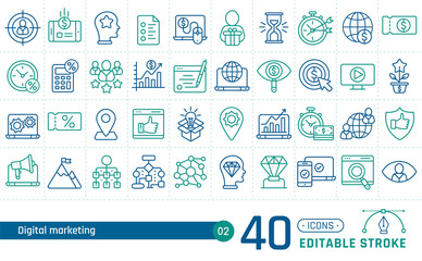 Digital marketing line icons set. Suitable for banner, mobile application, website. Editable stroke
