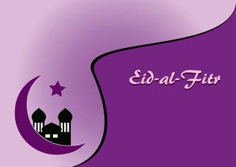 Grußkarte für das Fest Eid-al-fitr in lila Farbtönen. Eps 10 Vektor-Datei