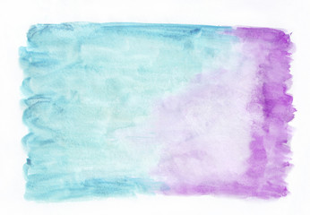 Orchid (purple) and cyan (deep sky blue) mixed watercolor horizontal gradient background. It's useful for greeting cards, valentines, letters. Abstract art style handicraft pattern.