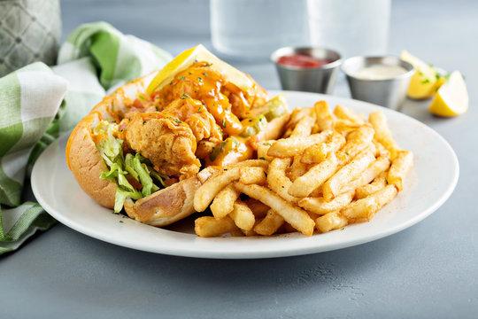 Po boy sandwich with fried shrimp