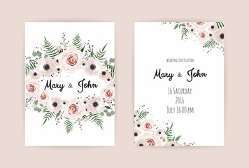 Vector invitation with handmade floral elements. Wedding invitation cards with floral elements
