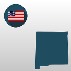 Map of the U.S. state of New Mexico on a white background. American flag