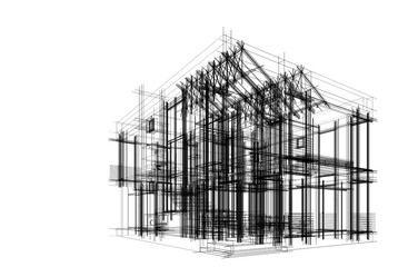 Modern house building architectural sketch. 3d illustration