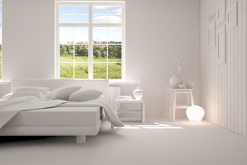 White modern bedroom with green landscape in window. Scandinavian interior design. 3D illustration