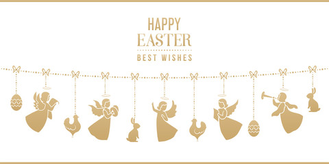 Easter card with bunnies, chickens, angels, eggs