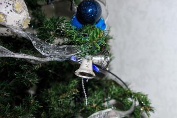 Silver bells on a fir