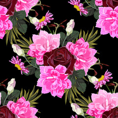 Seamless background with cute pink flowers and burgundy roses. Design for cloth, wallpaper, gift wrapping. Print for silk, calico and home textiles.Vintage natural pattern
