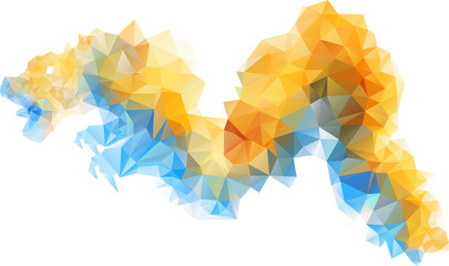Beautiful low poly triangular gradient blue and yellow china dragon. The imitation of the watercolor art. Vector illustration isolated on white background.