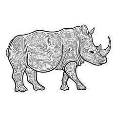 Vector Tribal Decorative Rhinoceros. Patterned Design