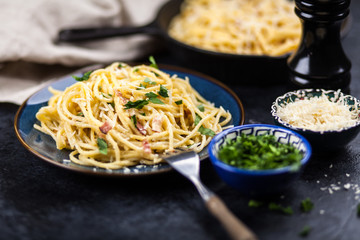Spaghetti carbonara with egg and pancetta
