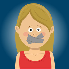 Scared young woman with tape over her mouth