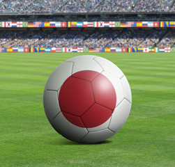 Soccer ball ball with the national flag of JAPAN ball with stadium