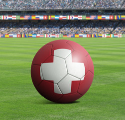 Soccer ball ball with the national flag of SWITZERLAND ball with stadium