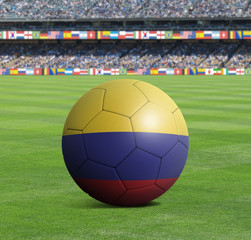 Soccer ball ball with the national flag of COLOMBIA ball with stadium
