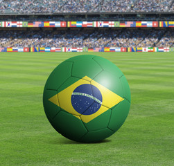 Soccer ball ball with the national flag of BRAZIL ball with stadium