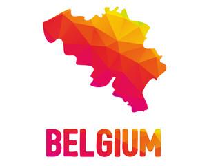 Low polygonal map of Kingdom of Belgium (Belgium) with Belgium typo sign
