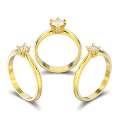 3D illustration three isolated yellow gold traditional solitaire engagement diamond rings with shadow