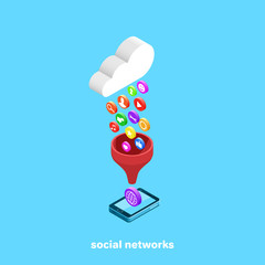 cloud over the smartphone and icons on the social networks and the Internet, isometric image