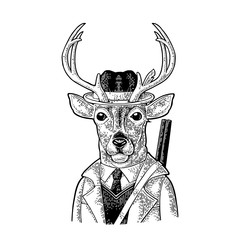 Monkey hunter with gun dressed coat, hat. Vintage black engraving