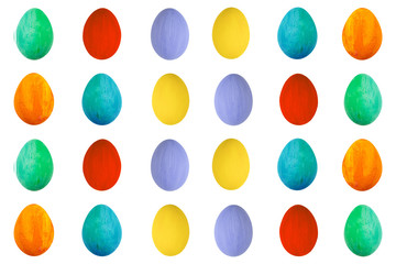 Colorful Egg on isolated white background. Happy Easter Handmade painted color Egg macro, set.